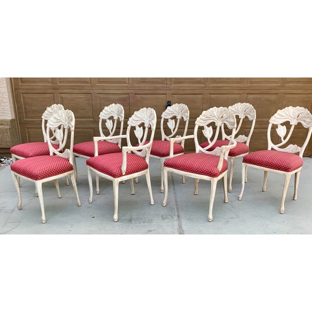 Art Nouveau Art Nouveau Style Carved Dining Chairs - Set of 8 For Sale - Image 3 of 12