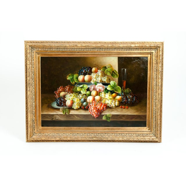 Fruit Still Life Giltwood Framed Oil / Canvas Painting For Sale - Image 11 of 11