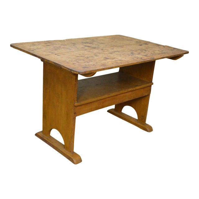 Antique Primitive Yellow Painted Pine Hutch Table Bench For Sale