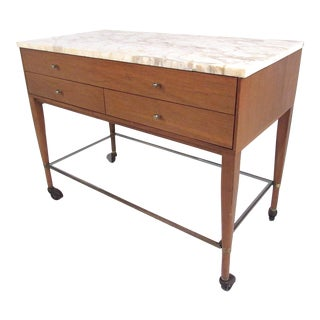 Paul McCobb for the Calvin Group Marble-Top Bar Cart For Sale