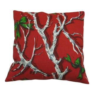 """18"""" Christmas Pillow Newly Made Vintage OldStock Fabric - Branches+Bows For Sale"""