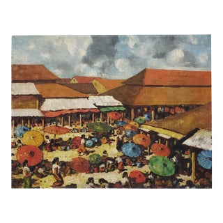"""Vintage Impressionist Oil Painting """"Beach Umbrella's"""" by Matte C.1950s For Sale"""