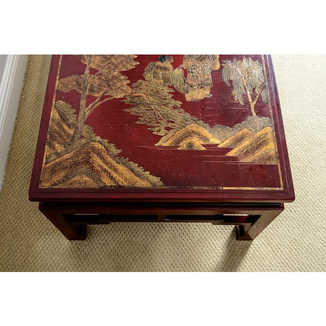 Late 19th Century Antique Chinese Red Lacquer Coffee With Asian Decorative Panel Top For Sale - Image 5 of 13
