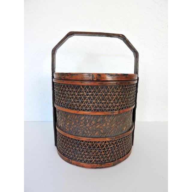 Asian Vintage Woven Split Bamboo Carved Chinese Wedding Basket or Container For Sale - Image 3 of 7