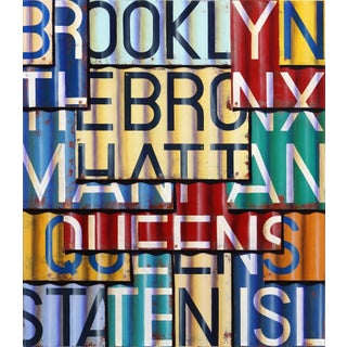 """""""New York Boroughs II"""" Contemporary Industrial Inspired Mixed-Media Painting by Ross Tamlin For Sale"""
