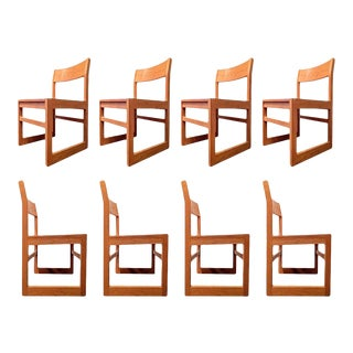 Organic Modernist Minimalist Oak Chairs - Set of 8 For Sale