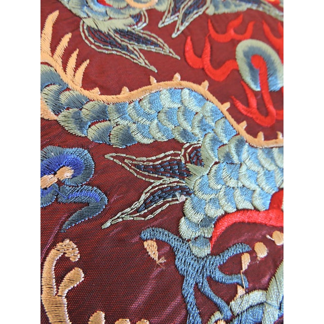 Chinoiserie Chinese Embroidered 'Blue Dragon' Table/Lamp Mat For Sale - Image 3 of 5