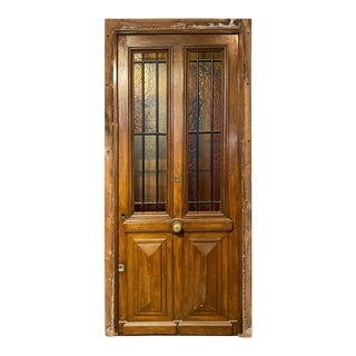 Late 19th Century Walnut Door with Glass, Circa 1870 For Sale
