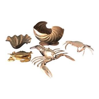 1970s Vintage Brass Ocean Creatures Collection - Set of 5