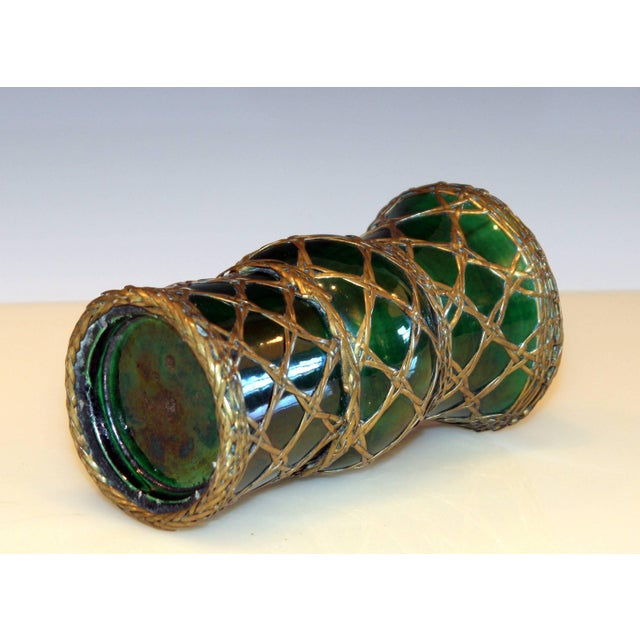 Antique Awaji Pottery Gu Form Vase Brass Weaving For Sale - Image 4 of 10