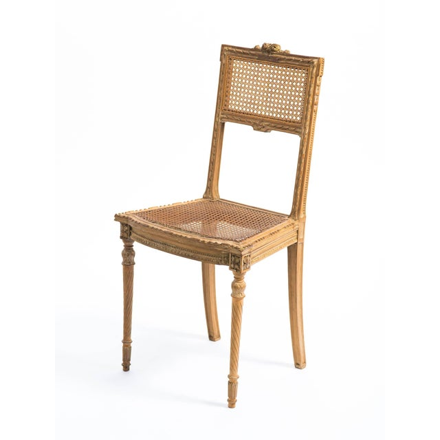 1920s 1920s Vintage Hand-Carved French Caned Side Chair For Sale - Image 5 of 8