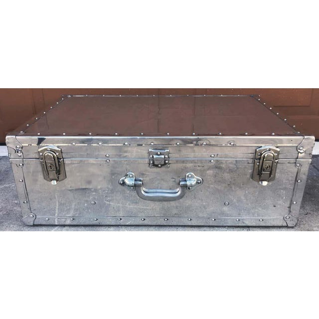 Mid 20th Century Japanese Post War Aluminum Riveted Trunk on Iron Stand With Glass Top, Restored For Sale - Image 5 of 12