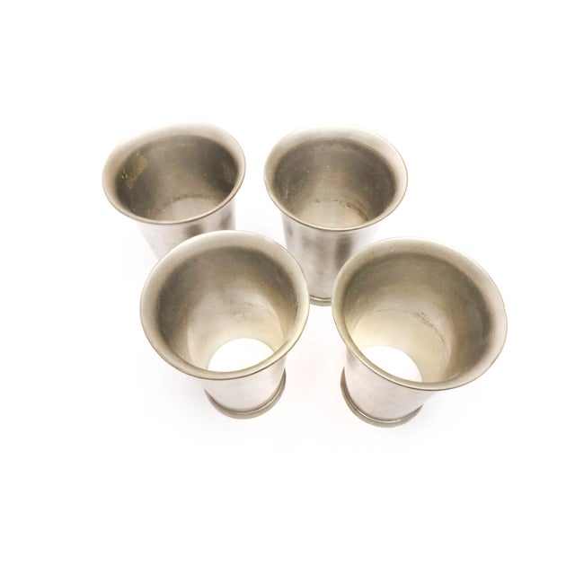 Rustic Mid 19th Century Antique Tapered Solid Pewter Cups - Set of 4 For Sale - Image 3 of 5