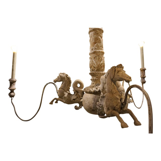 Hand Carved Venetian Horse Chandelier - Image 9 of 11