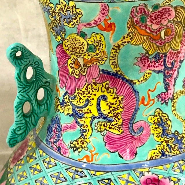 Exquisite Chinese Famille Rose Foo Dog Motif Vase, Now as a Lamp For Sale In Atlanta - Image 6 of 10