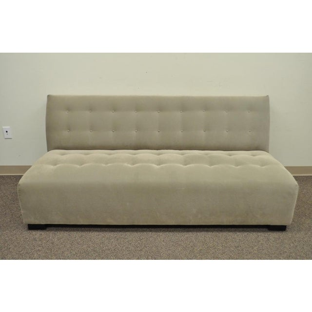 "Item: Pre-owned Crate&Barrel/Mitchell Gold Modern ""Plus"" Armless Sofa Details: Modern armless design, Shallow tufted..."