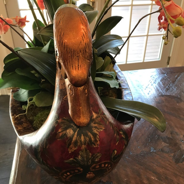 Paint Double Headed Swan Wood Urn For Sale - Image 7 of 9