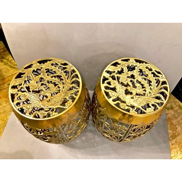 Asian Pair of Cast Chinoiserie Brass Mastercraft Attributed Garden Stools C. 1960 For Sale - Image 3 of 5