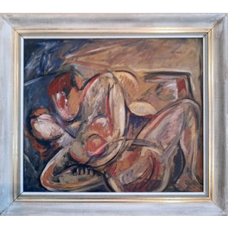 Mid 20th Century Portrait of Nude Male and Female Oil Painting, Framed For Sale