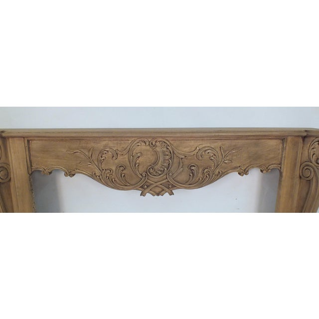 French Louis XVI Style Bleached Wood Fireplace Mantle - Image 3 of 4