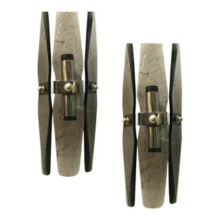 Smoky Beveled Glass Sconces by Veca - a Pair For Sale
