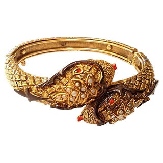 Art Company 60s Double Snake Head Bangle For Sale