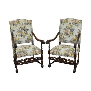 Antique French Louis XIII Style Carved Walnut Throne Chairs - A Pair For Sale