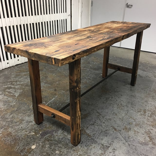 Custom Reclaimed Wood Rustic Style Counter Height Table Chairish - Custom counter height table