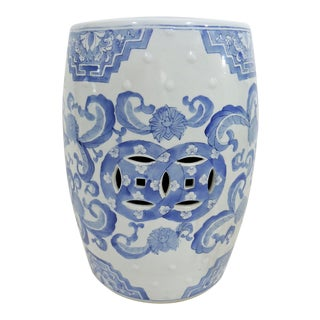 20th Century Chinese Blue and White Flower Stool