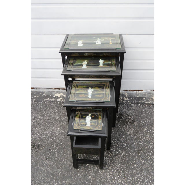 Oriental Black Painted Nesting Tables Set of Four For Sale - Image 11 of 13