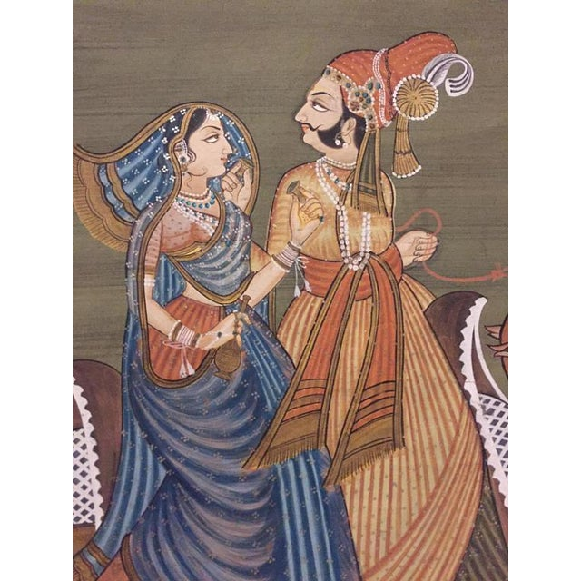 """Boho Chic Mid Century Modern India Silk Painting Camel Ride - 45"""" For Sale - Image 3 of 11"""