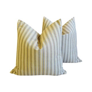 "New England Nautical Striped Feather/Down Pillows 24"" Square - Pair For Sale"