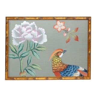 Vintage Hand-Painted Chinoiserie Wallpaper Remnant Painting of a Pheasant on Celedon Silk For Sale
