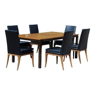 Mid-Century Modern Harvey Probber Dining Set Mahogany Walnut Table & Six Chairs