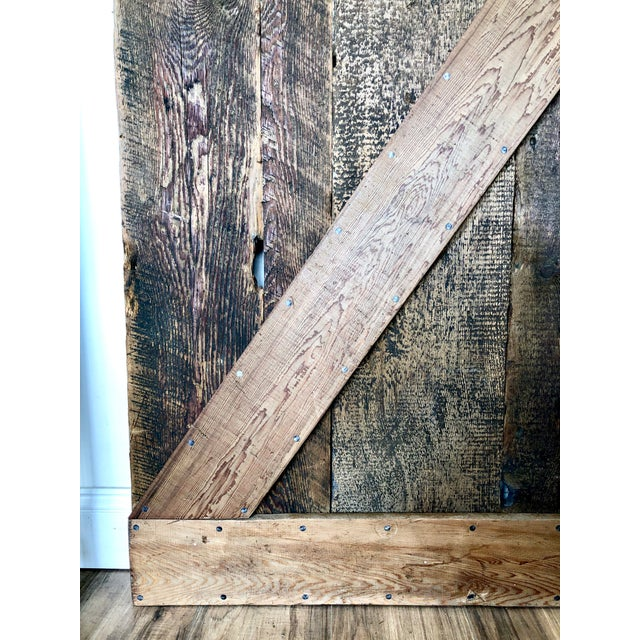 Brown Modern Rustic Sliding Farmhouse Barn Door For Sale - Image 8 of 13
