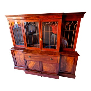 Antique English Library Case With Desk For Sale