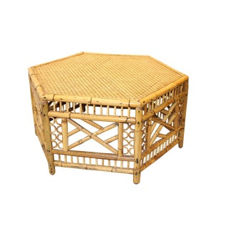 1960s Chinese Bamboo Hexagonal Table For Sale