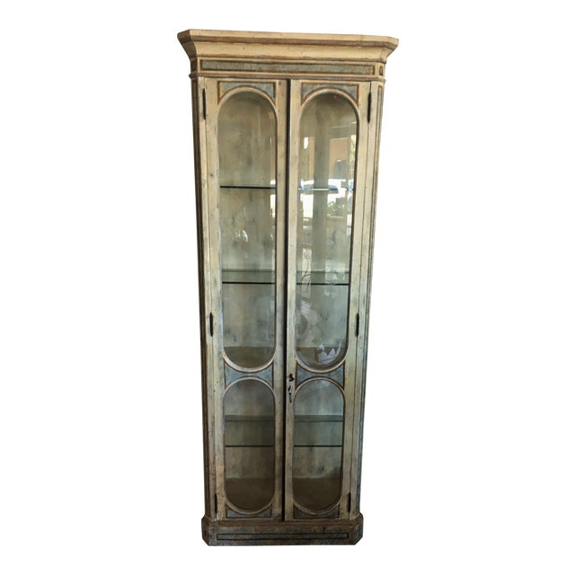 Vintage Hand Painted Curio Cabinet For Sale