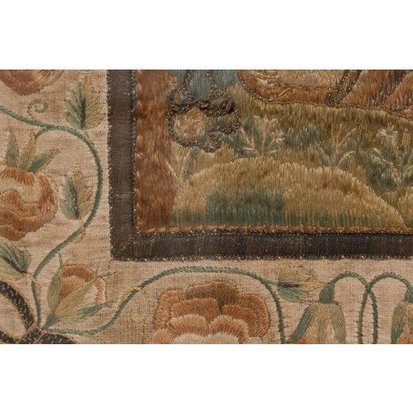 Wood Italian Silk Thread Needlework in Gilt Frame For Sale - Image 7 of 11