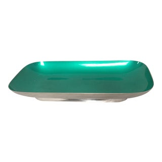 Mid-Century Reed & Barton Silver & Enameled Teal Tray For Sale