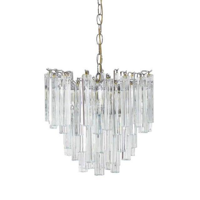 Mid-Century Modern Medium Size Venini Glass Prisms Camer Light Fixture For Sale - Image 3 of 9