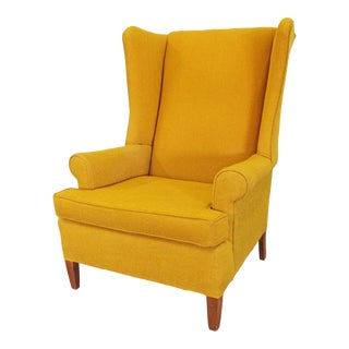 Vintage Mustard Yellow Fireside Wing Back Chair For Sale
