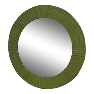 Round Avocado Green Bamboo Frame Mirror For Sale