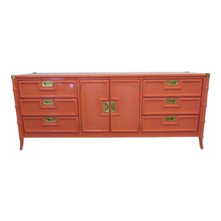 Stanley Campaign & Faux Bamboo Lacquered Credenza For Sale