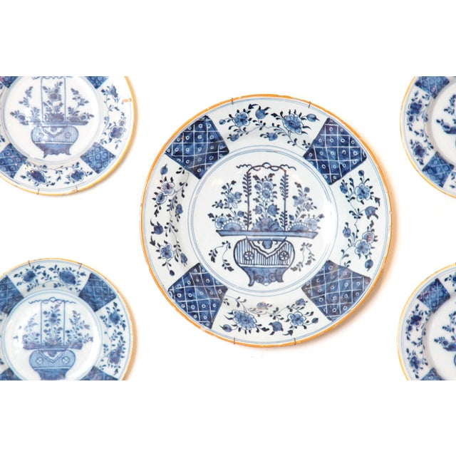 Blue Chinese Flower Basket / Blue and White Delft Plates / Group of Seven For Sale - Image 8 of 13