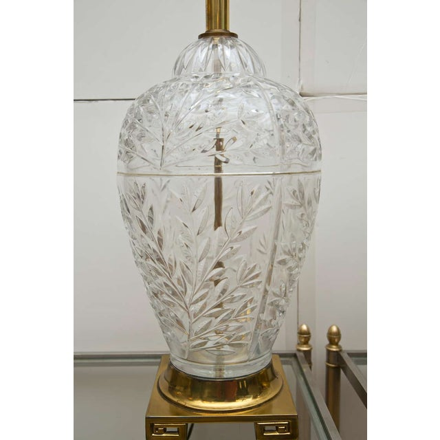 Mid-Century Glass & Brass Ginger Jar Lamps - Pair - Image 5 of 6