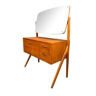 1960s Mid Century Modern Sigfried Omann Teak Vanity Dressing Table With Mirror For Sale