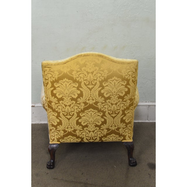 Georgian Style Custom Carved Mahogany Paw Foot Lounge Chair Bergere For Sale In Philadelphia - Image 6 of 12