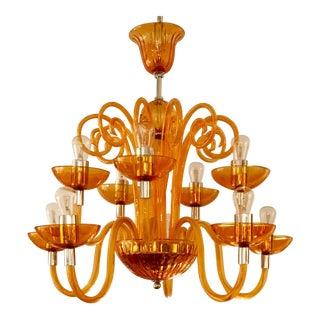 Art Deco Orange Glass Murano Style Chandelier