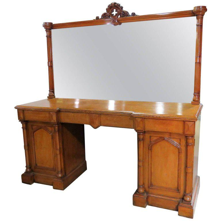 marvelous Gothic Vanity For Sale Part - 4: Brown Gothic Style Oak Vanity With Mirror For Sale - Image 8 of 8